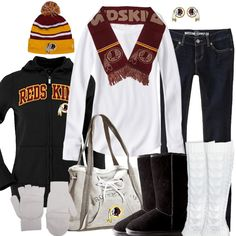 Washington Redskins Winter Fashion {I have ALL of this, I'd add my cable knit knee high redskin boots!}