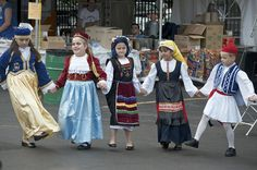 Children In Traditional Greek Costumes Photograph Greek Traditional Dress, Traditional Outfits, Folk Costume, Halloween Costumes, Greece Costume, International Clothing, Shall We Dance, World Cultures, Dance Dresses