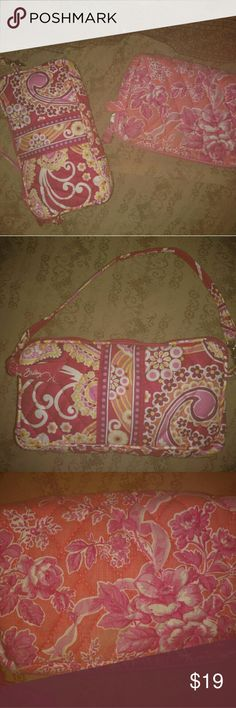 Vera Bradley Bundle 2 Authentic Vera Bradley Bags  The First bag shown has a short strap  I think its called a wristlet   Could be used as a purse, makeup bag, or even an  organizer  Nice Condition  The second bag is strapless  Perfect for a makeup and or accessory holder  Very small makeup spot that I've shown in last photo  Not that noticeable  Rest of the bag is in great shape  We all love Vera Bradly    Now is your chance to grab not just  one, but TWO cute bags with her stellar designs…