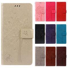 Leather case para huawei y3 2 coque/huawei y3 ii case cubierta para huawei y3 ii modelo del árbol de coque bolsos del teléfono móvil + soporte de la tarjeta
