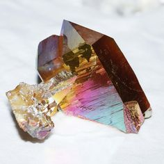 Beautiful Sunset Rainbow Aura Quartz Crystal ClusterSize: About 2 Crystals Minerals, Rocks And Minerals, Crystals And Gemstones, Stones And Crystals, Quartz Cluster, Crystal Cluster, Quartz Crystal, Crystal Magic, Crystal Healing
