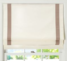 Grosgrain Ribbon Cordless Roman Shade | Pottery Barn- Love this for the Family room