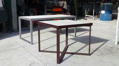 mesas cafe en acero y hormigon