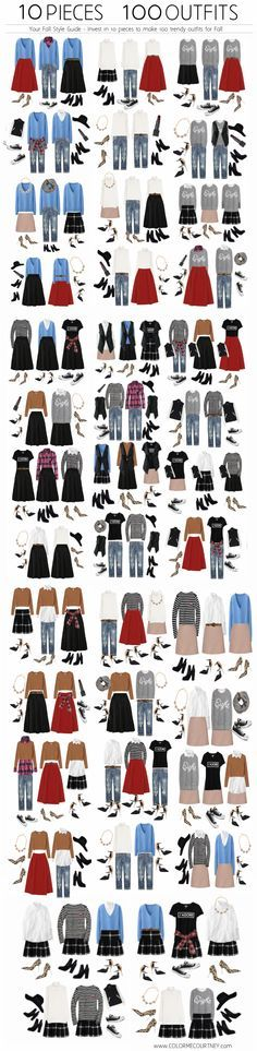 10 pieces, 100 outfits for fall