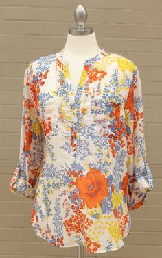 Curve~The Cathy Floral Print Top - This beautiful floral top will make your beauty pop! Dress and Dwell - Good things for you and your home