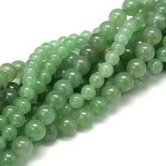 1 brin Perles 8mm aventurine pierre naturelle ronde vert jade PGAV201602 : Perles pierres Fines, Minérales par creatist