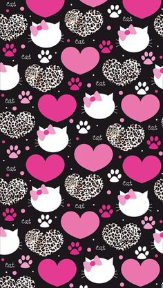 Pink Hello Kitty and Hearts Wallpaper