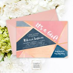 Geometric Baby Shower Invitation - Rose Gold Pink and Blue It's A Girl…