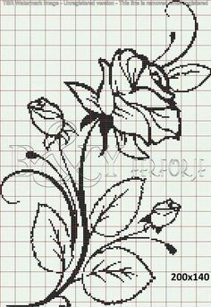 Crochet Patterns Filet Perler Beads New Ideas Crochet Patterns Filet, Crochet Motifs, Crochet Cross, Crochet Chart, Beaded Cross Stitch, Cross Stitch Rose, Cross Stitch Flowers, Cross Stitch Embroidery, Cross Stitch Designs
