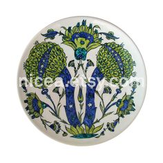 Damascus-Style Iznik Pottery Dish with Green Artichokes - Handmade - Home Decor - Fine Art Ceramics Cold Dishes, Blue And Green, Turkish Tiles, Hand Painted Ceramics, Ceramic Painting, Handmade Home Decor, Damascus, Islamic Art, Ceramic Pottery
