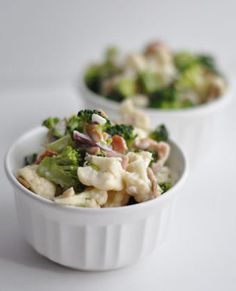 Broccoli and Cauliflower Salad Splurge a little while getting your veggies in! Cauliflower, broccoli, onion, and sunflower seeds make up the bulk of this colorful salad Best Healthy Recipe Books, Healthy Recipes, Healthy Options, Healthy Foods, Broccoli Cauliflower Salad, Baked Cauliflower, Chicken Broccoli, Cauliflower Recipes, Baked Chicken