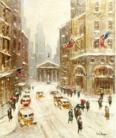Guy Carleton Wiggins, Broad Street in Winter, New York