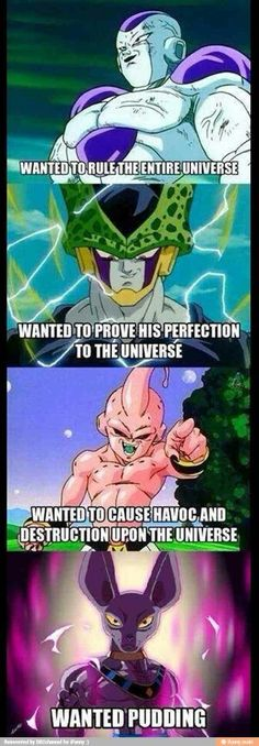 All Beerus wanted was pudding - Dragon Ball Super Dbz Memes, Funny Memes, It's Funny, Hilarious, Dragon Ball Z, Funny Dragon, Db Z, Pokemon, Animation