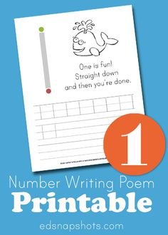 Learn to Write Numbers One - printable number writing poem worksheet