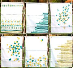 Make Your Own Gorgeous Geo Hand-Printed Tea-Towels - Tuts+ Crafts & DIY Tutorial Fabric Crafts, Sewing Crafts, Sewing Projects, Craft Projects, Stamp Printing, Printing On Fabric, Hand Printed Fabric, Stencil, Diy Crafts Love