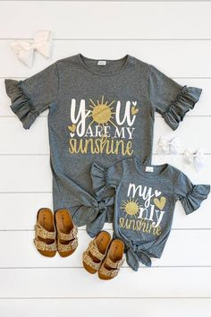 "Mom & Me - ""You Are My Sunshine"" Top - Sparkle In Pink Source by and me Mommy And Me Shirt, Mommy And Me Outfits, Girl Outfits, Mom And Me, Baby Shirts, Family Shirts, Kids Shirts, Girl Mom Shirts, Onesies"