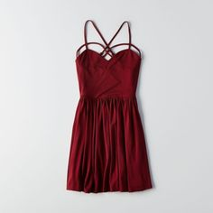 AEO Strappy Fit & Flare Dress ($30) ❤ liked on Polyvore featuring dresses, maroon, floral print dress, strappy dress, flower print dress, floral pleated dress and american eagle outfitters