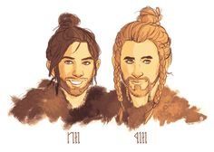 Fili & Kili - fraternal twins, and nephew of Prince Thorin Oakenshield.  Good-looking pair.  Something you just can't say for most Dwarves.