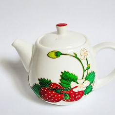 Hand-painted strawberry teapot