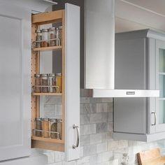 New Kitchen Storage Cabinets Diy Spice Racks Ideas Kitchen Design, Kitchen Renovation, Pull Out Spice Rack, Diy Kitchen Cabinets, Storage Cabinets, Kitchen Cabinet Storage, Kitchen Style, Upper Cabinets, Upper Kitchen Cabinets