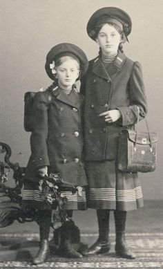 +~+~ Antique Photograph ~+~+  Sisters dressed up perfectly for school.  Circa 1907