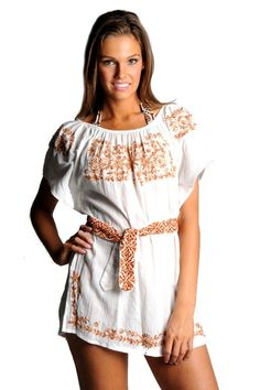 9442ca21e67 Letarte Off Shoulder Embroidered Dress in White copper. Women s Pin ·  Dresses