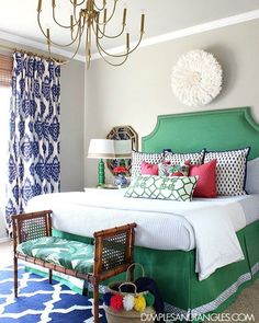 Kelly Green, Navy, and Pink Master Bedroom Bold, Colorful, Preppy Bedroom Dimples and Tangles Pink Master Bedroom, Guest Bedroom Decor, Bedroom Green, Master Bedroom Design, Bedroom Colors, Home Bedroom, Bedroom Ideas, Master Bedrooms, Bedroom Modern
