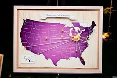 """""""The Road You Tread To See Us Wed"""" A map highlighting where the guests from your wedding traveled from."""