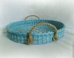 """Купить Поднос """"Ocean"""" - бирюзовый поднос, круглый поднос, в морском стиле, декор в морском стиле"""