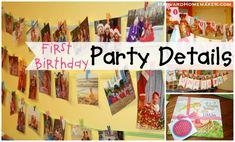 First Birthday Party:  easy DIY photo invitation; using photos to create banners; gift & favor ideas; simple polka dot smash cake; tips & more!   A lot of information in this post--I hope it's helpful!  #baby #birthday #harvardhomemaker