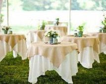 Natural Burlap, Jute Overlay, Rustic Wedding Tablecloth, Burlap Squares, 90 x 90, 72 x 72, Cake Table, Spring Wedding, Barn Wedding