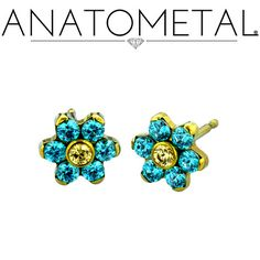 Flower Earrings in ASTM F-136 titanium, anodized yellow; Mint Green CZ, synthetic Citrine gemstones