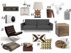 style spotlight: masculine living room decor, dark, white contrasts, detail, retro, earth tones, noncommittal