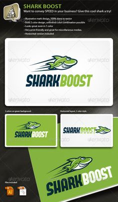 SharkBoost - Illustrative Mark for Speedy Business - Animals Logo Templates #logo #shark #boost #animal #funny #design #businesscard