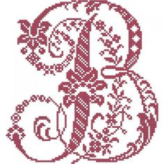 French Floral Cross Stitch Alphabet | Embroidery Stash                                                                                                                                                                                 More Cross Stitch Letter Patterns, Monogram Cross Stitch, Cross Stitch Designs, Stitch Patterns, Embroidery Alphabet, Embroidery Fonts, Alphabet Design, Needlepoint Pillows, Cross Stitching