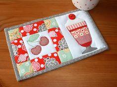 Ice Cream Sundae Mug Rug pattern $1.99 on Craftsy at http://www.craftsy.com/pattern/quilting/home-decor/ice-cream-sundae-mug-rug/55562