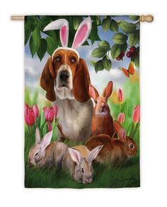 "Bunny Wanna-Be Flag (Garden Size) by House-Impressions. $7.99. 12.5"" x 18"". A flag is the greeting card of your home. Silk Reflections Flag. Original Artwork by © Thomas Wood. Licensed by Porterfield's Fine Art Licensing. Great for yourself or as a gift. His floppy white ears may not make him more convincing, but this dog adds an adorable touch to this springtime scene. Four little bunnies rest sweetly in the tall grass, surrounded by tulips and a graceful butterfly, and all t..."