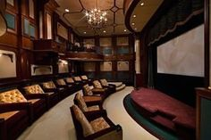 I've done a post on this home already, but I just wanted to do a post on the home theater, since more photos were added of it. This spectacular home theater is located in a At Home Movie Theater, Home Theater Rooms, Home Theater Design, Cinema Room, Dream Theater, Extravagant Homes, Home Theater Furniture, Furniture Ideas, Outdoor Furniture