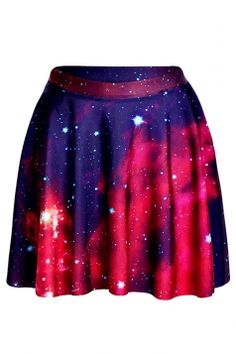 #Watermelon #Red Womens #Slimming #Galaxy Printed #Pleated #Skirt