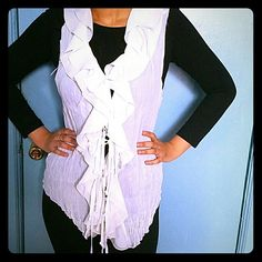 Ruffled top White sleeveless ruffle top Tops
