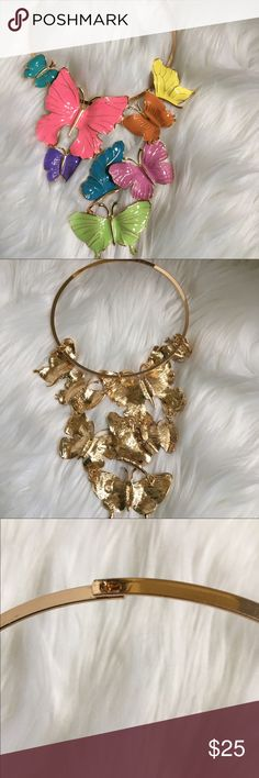 Butterfly Statement Necklace This butterfly necklace is so beautiful and will definitely be a conversation piece! Gold plated. Jewelry Necklaces