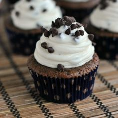 Chocolate cupcakes (from scratch) topped with a creamy Chocolate Chip Cheesecake frosting!