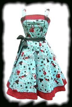 50s  turquoise and red