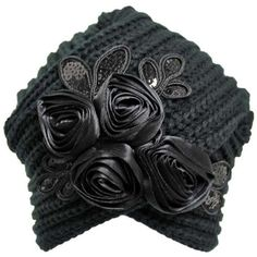 Black Knit Turban Beanie With Satin Rosettes (€18) ❤ liked on Polyvore featuring accessories, hats, black, black sequin hat, black knit beanie, long beanie hats, long hat and black turban