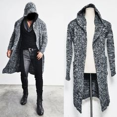 Edge Long Hood Chunky Knit Cape Coat 59 Streetwear Knit Coat