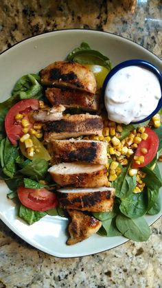 Grilled Chicken (1 red), Baby Spinach and veggies (2 greens), Roasted Corn (1/2 yellow), Greek Yogurt Ranch Dressing (1/2 red)