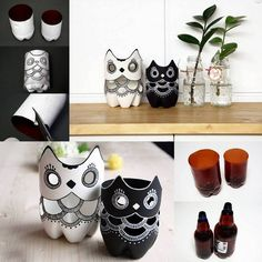 DIY Plastic Bottle Owl Vases
