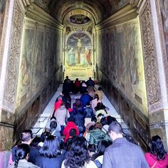 Rome sightseeing: climbing the Scala Sancta on your knees and saying a prayer on each step. These are said to be the same steps that Jesus climbed on the day He was crucified, brought to Rome from Pontius Pilates palace by St Helen, mother of the Roman Emperor Constantine #travel #italy #rome #sightseeing #holysite #catholic