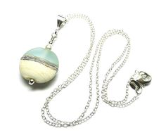 Lampwork glass 'Seashore' necklace by Laura Sparling