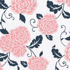 Coral Pink and Navy Floral Fabric | Carousel Designs For curtains?